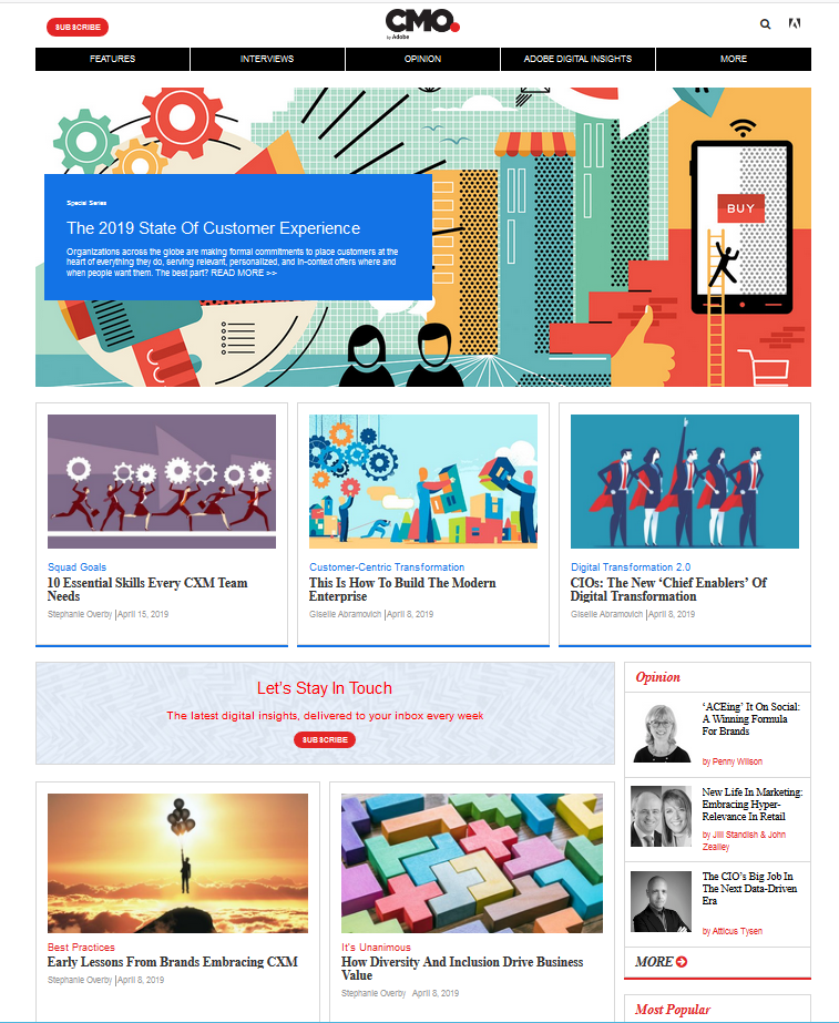 Adobe CMO.com content hub