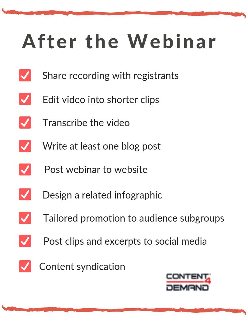 webinar promo checklist