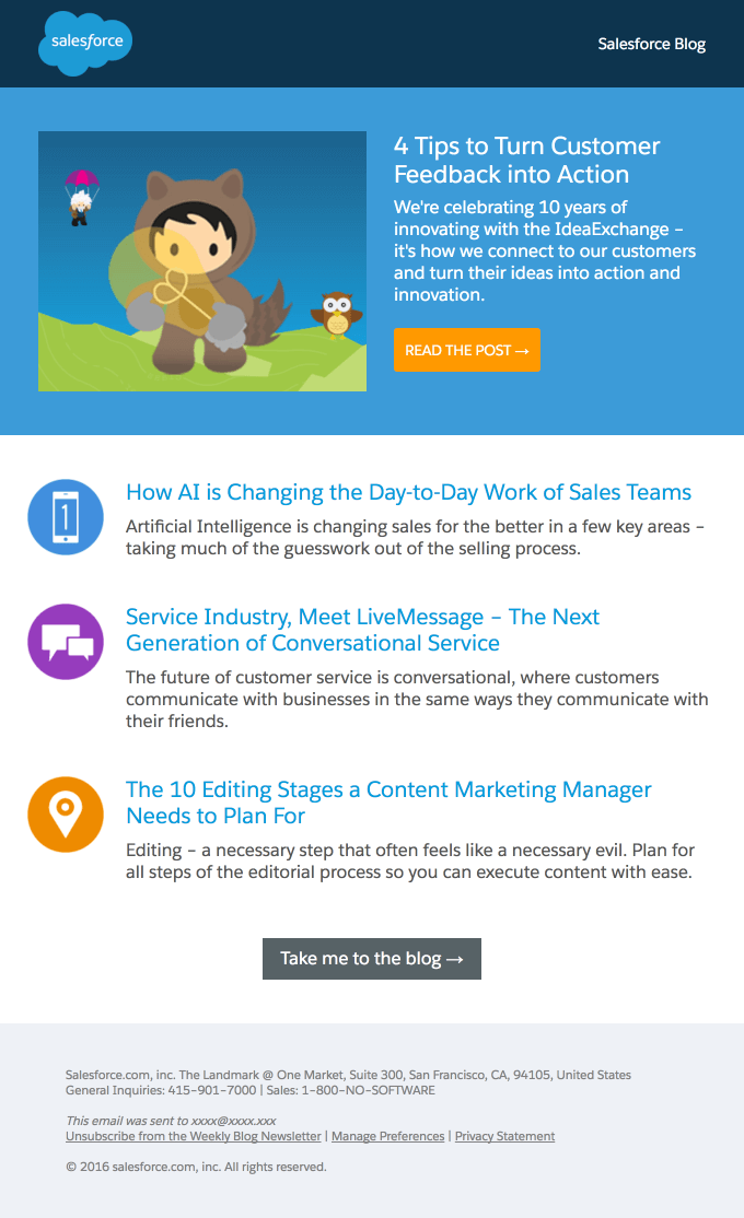 Salesforce newsletter