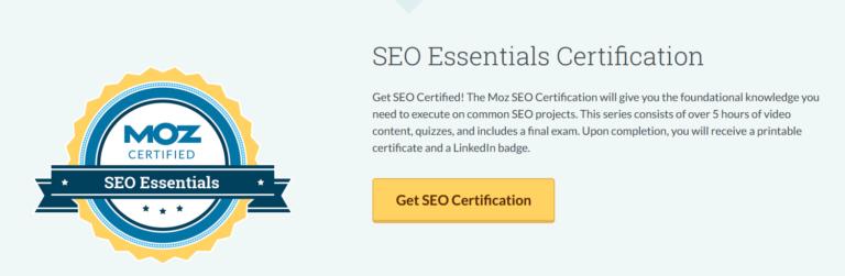 MOZ SEO Essentials Certification